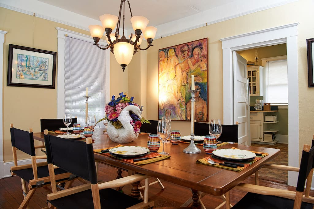 Period furnishings and art in the dining room.