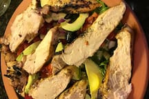 Mediterranean Chicken Salad  Will cook for you, if arranged ahead of time.