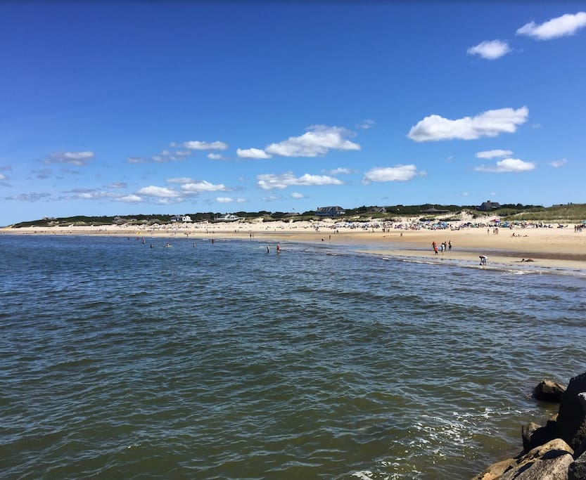1/2 mile walk to the Sea Street Beach, as seen here from the Jetty
