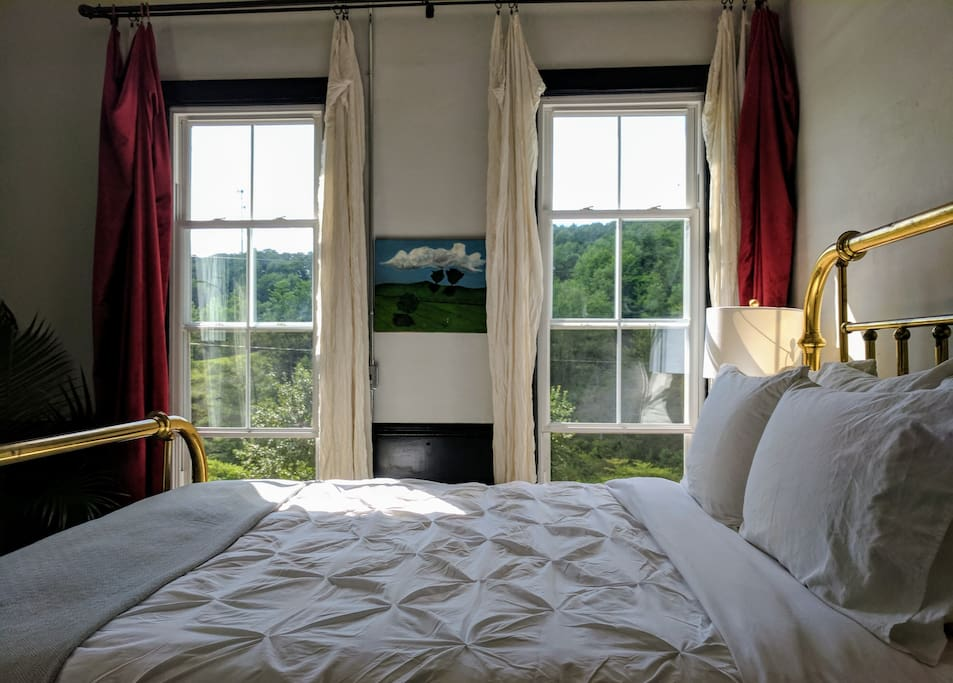 The apt. overlooks the town trail and Monongahela forest.  Light blocking velvet curtains in bedroom.