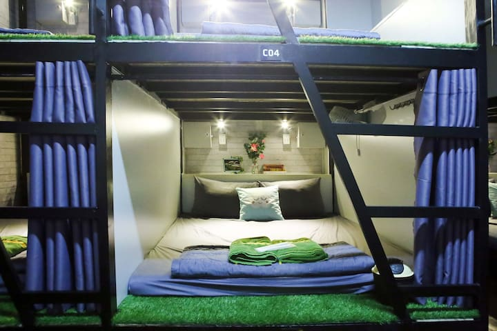This is Double bunk beds in dorms for couple travelers. It is ideal for couples who want to save money and do not need lots of privacy.