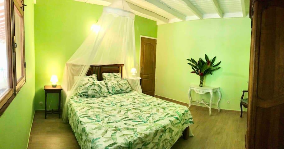 Chambre Anoli, en rez-de-chaussée. Vue sur la forêt et le jardin tropical à l'arrière de la maison. Le lit queen 160x200cm se transforme selon vos besoins en 2 lits de 80x200xcm