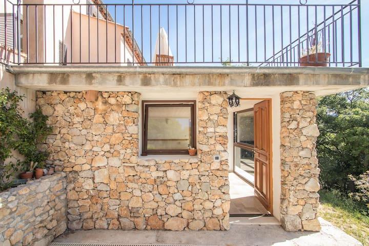 Bas de villa au milieu des oliviers.