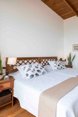 """This is the main bedroom call """"Iguana"""" of the """"Tierra Apartment"""", there are 2  beds together and at the same time independent. This room is very comfortable, spacious, it has its own full bathroom with large screens that overlook the sea."""