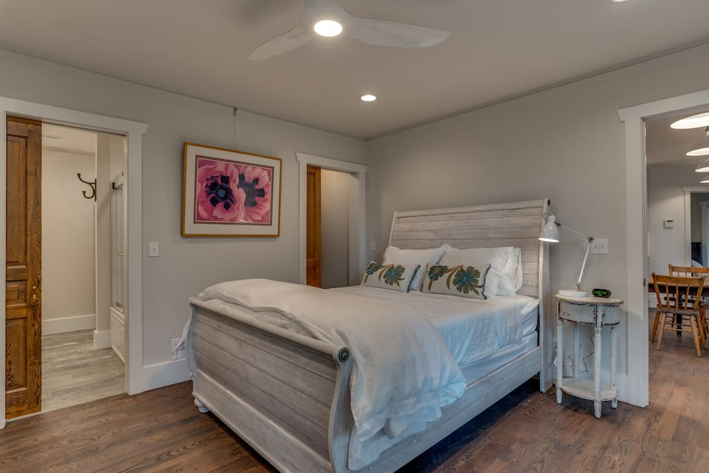 Master Bedroom  - queen bed and TV in armoir
