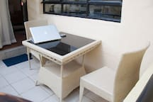 Balcony lounge ideal for al fresco dining and working