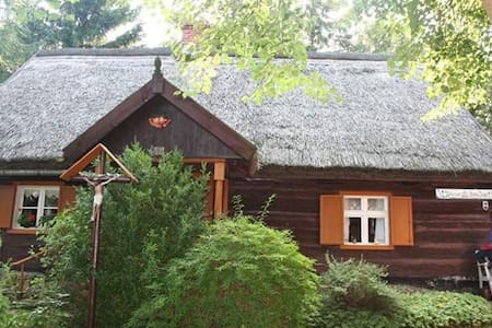 XIX-wieczny Zabytkowy Dom kryty strzechą na wsi