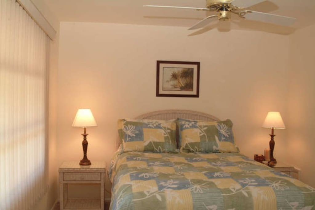 Spacious guest bedroom with queen-sized bed