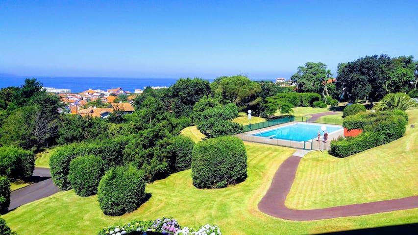 Terrasse vue exceptionnelle mer  montagne piscine