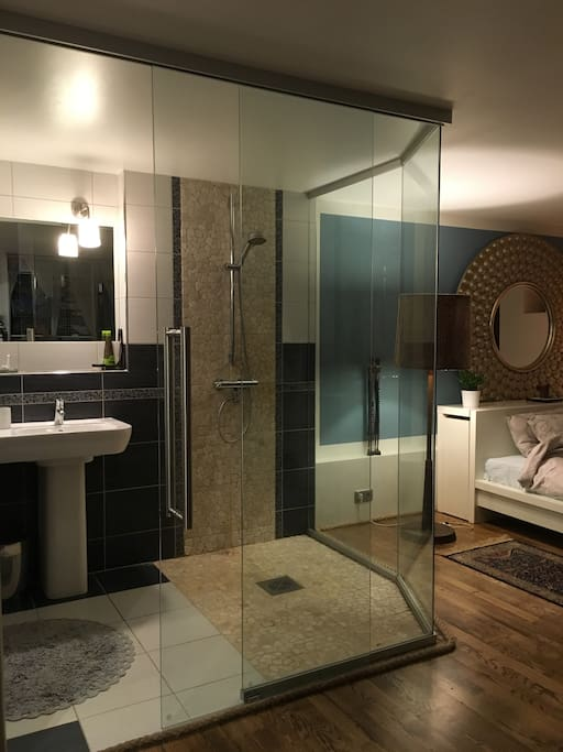 Glass wall bathroom