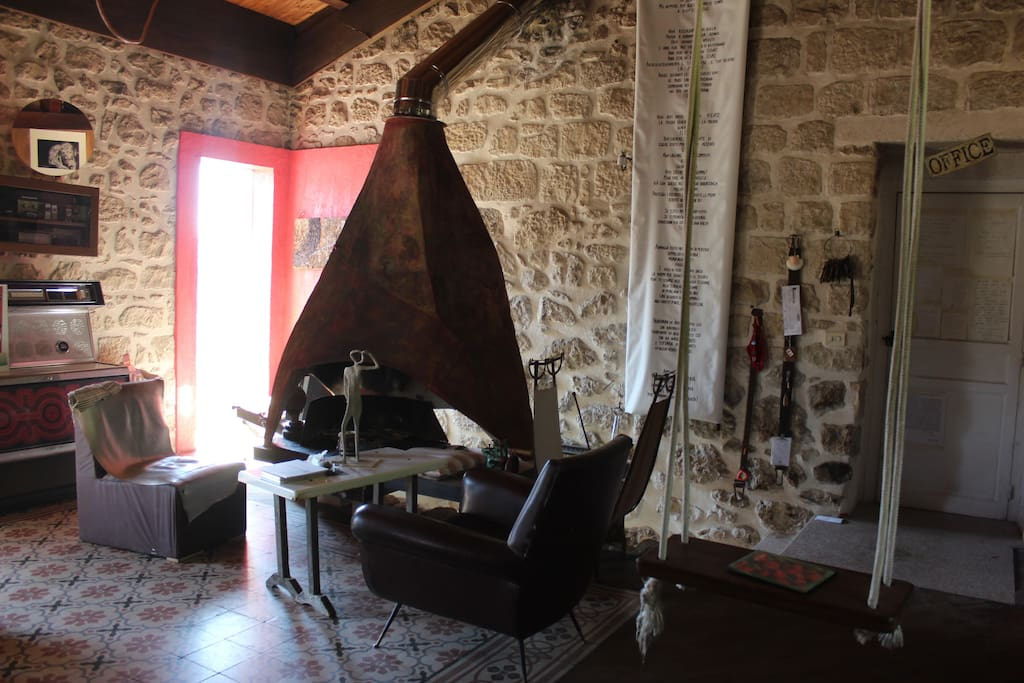 Living room with hand-made chimney