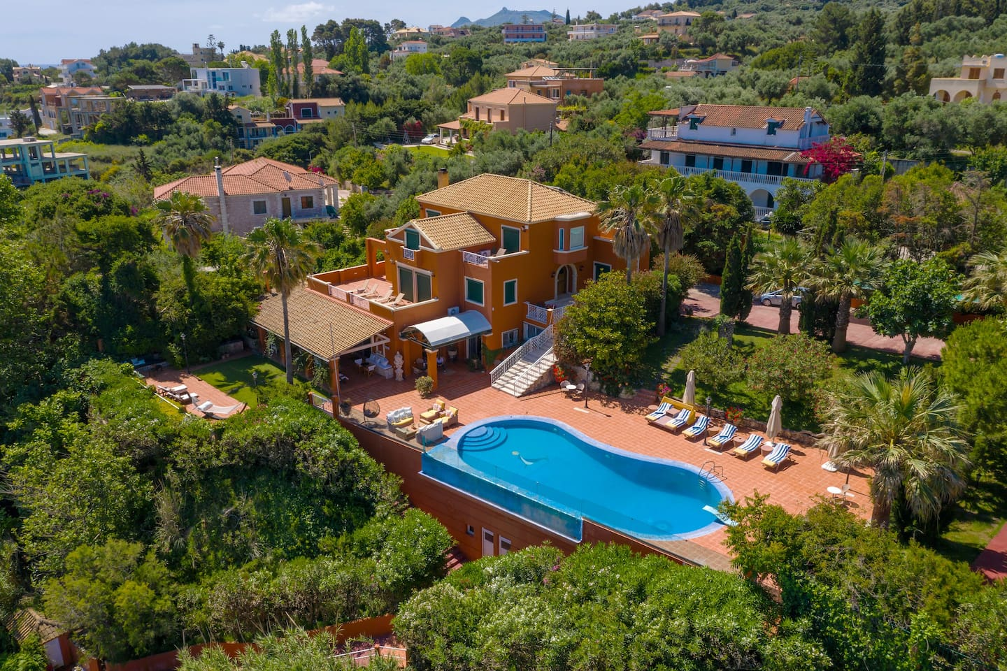 Aerial view of the villa. The villa is in Akrotiri area which consists mainly from villas and is a 10' minute drive to Zakynthos town.