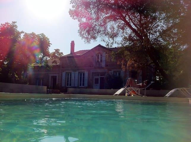 Chambre 2 ou 4p Maison de caractère avec piscine - Castelnau-d'Estrétefonds - Pension