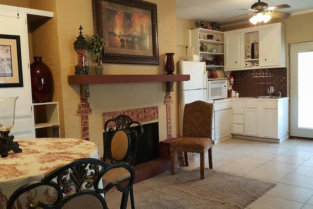 Kitchen and fireplace.