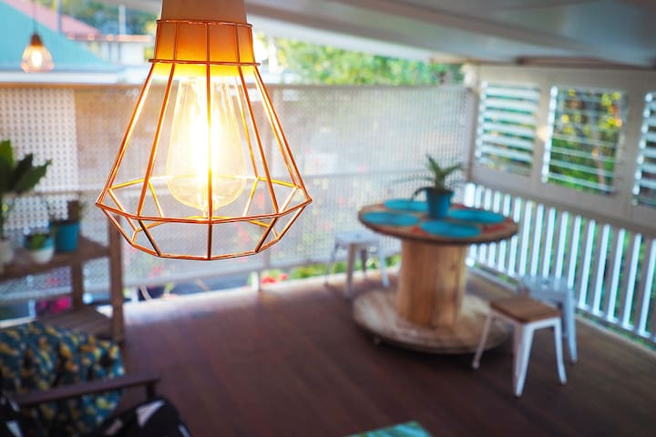 The rear entertaining deck with copper modern lighting. Perfect for cool breezy evenings!