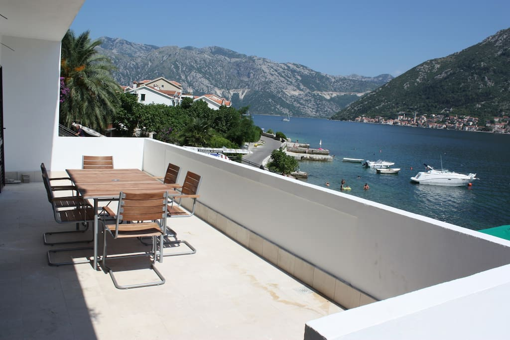 View of Perast from the spacious terrace with alfresco dining for 6.