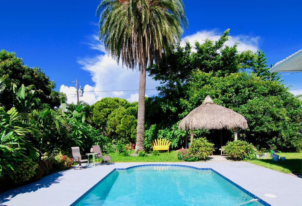 The yard outside your suite is large, beautifully green, and endowed with a swimming pool and tiki hut.