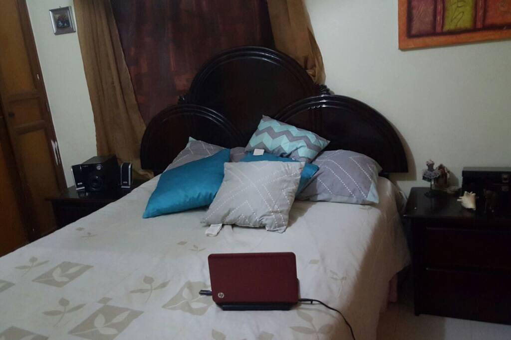 Habitacion con ventilador de Techo, tv con cable, Laptop, dvd,  Bocinas, libros, mesitas de noche