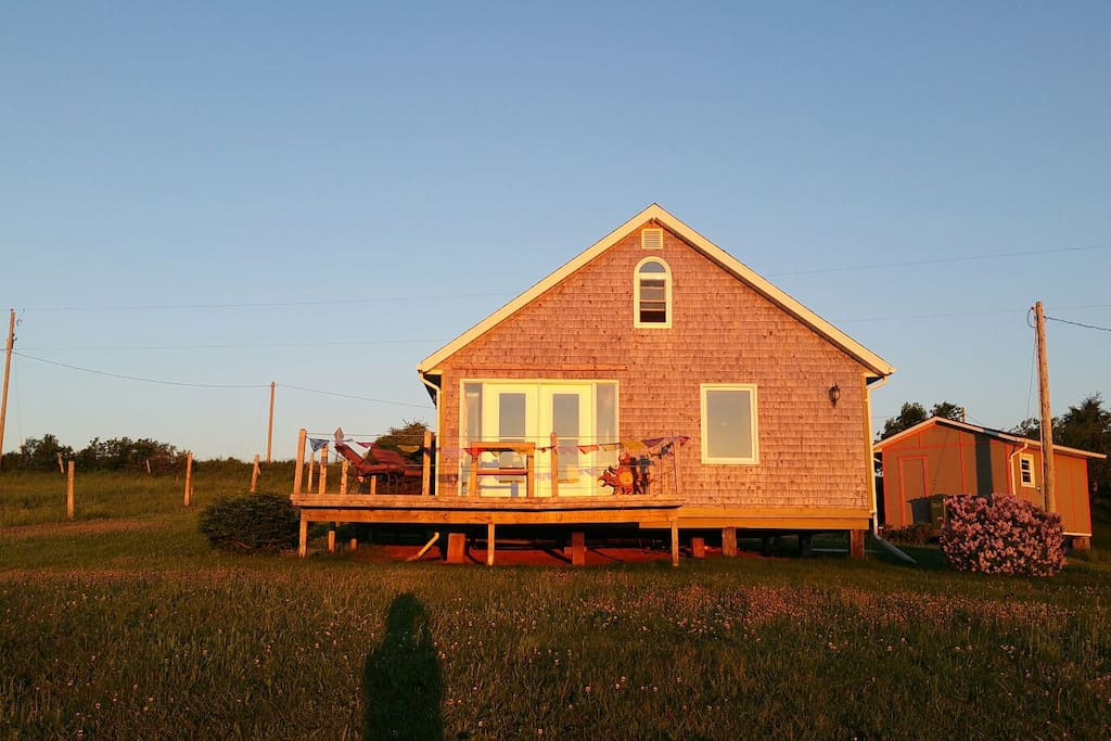 Front view of the cottage at sunrise