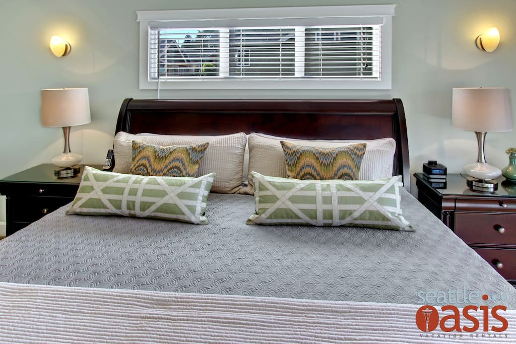 This luxurious king bed is made for royalty and the perfect place to end or spend your days.