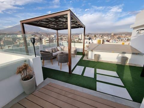 Appartement exclusif pour célibataire ou couple avec terrasse  et espace barbecue privé