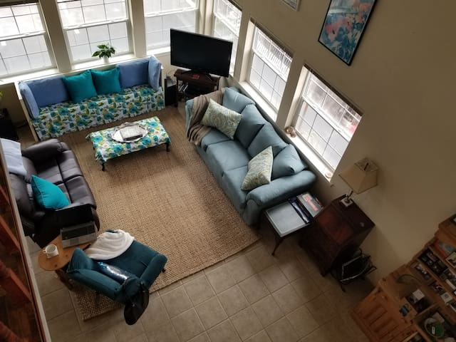 Living room - from the loft.
