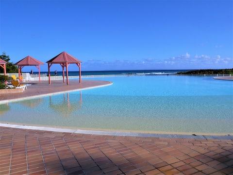 Studio, piscine, accès plage à l'anse des rochers