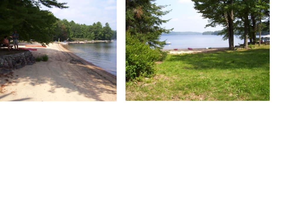 The sandy beach is shared with one other cottage but the trees provide privacy and the docks are positioned at the furthest ends of the properties.  Plenty of room for making sand castles, playing volley ball or just lying around.   The water level recedes throughout the summer and so the amount of beach increases (late August shown).