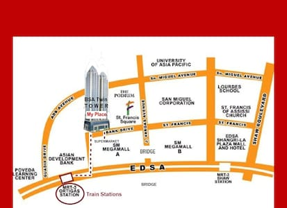 BSA Sm Megamall, MRT Train, *WIFI , ORTIGAS Center - Mandaluyong