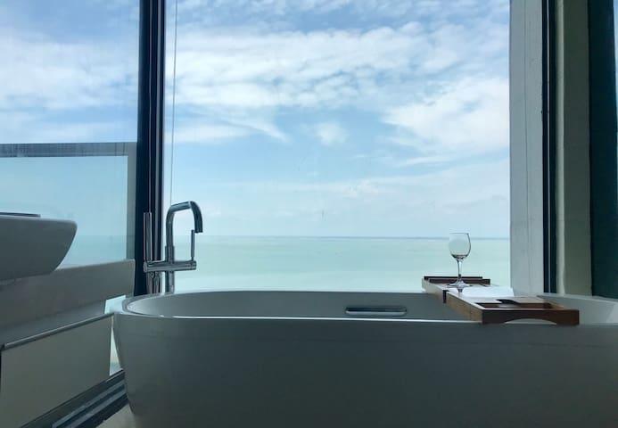 北海C+公寓&民宿之【海•宿】高层一线海景房,房间可做饭&观日落,一分钟到金滩海边,近海底世界,老街