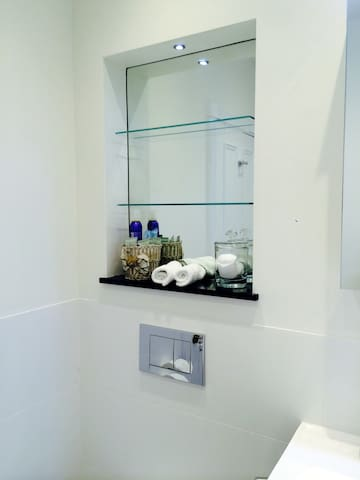 Private shower room.