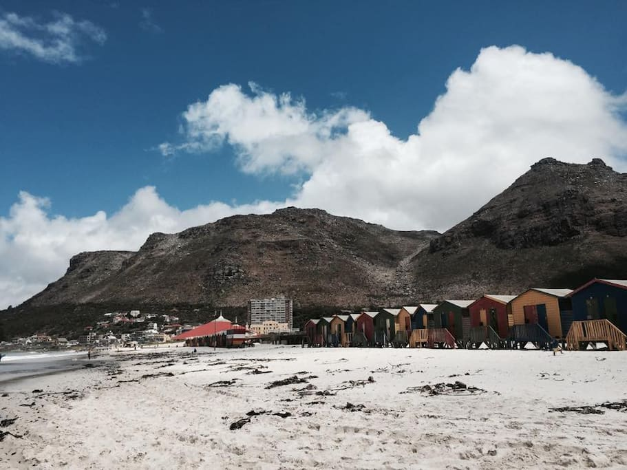 The infamous bright colours of the changing huts at Muizenberg Beach.