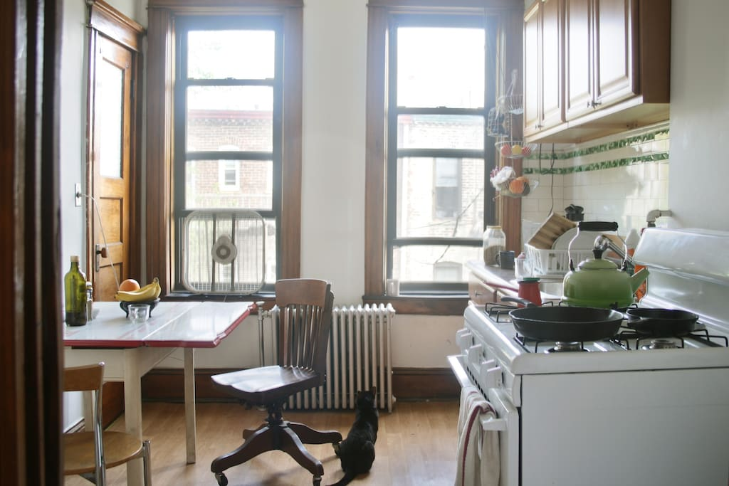 the kitchen, on the east side of the apartment