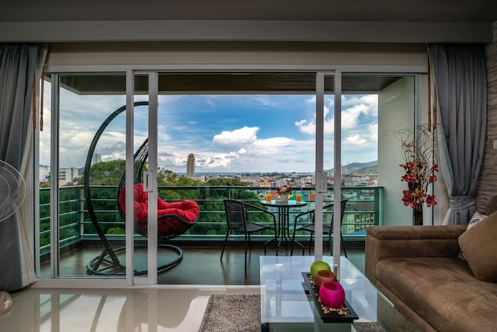 Enjoy the great views from your swing chair on the balcony