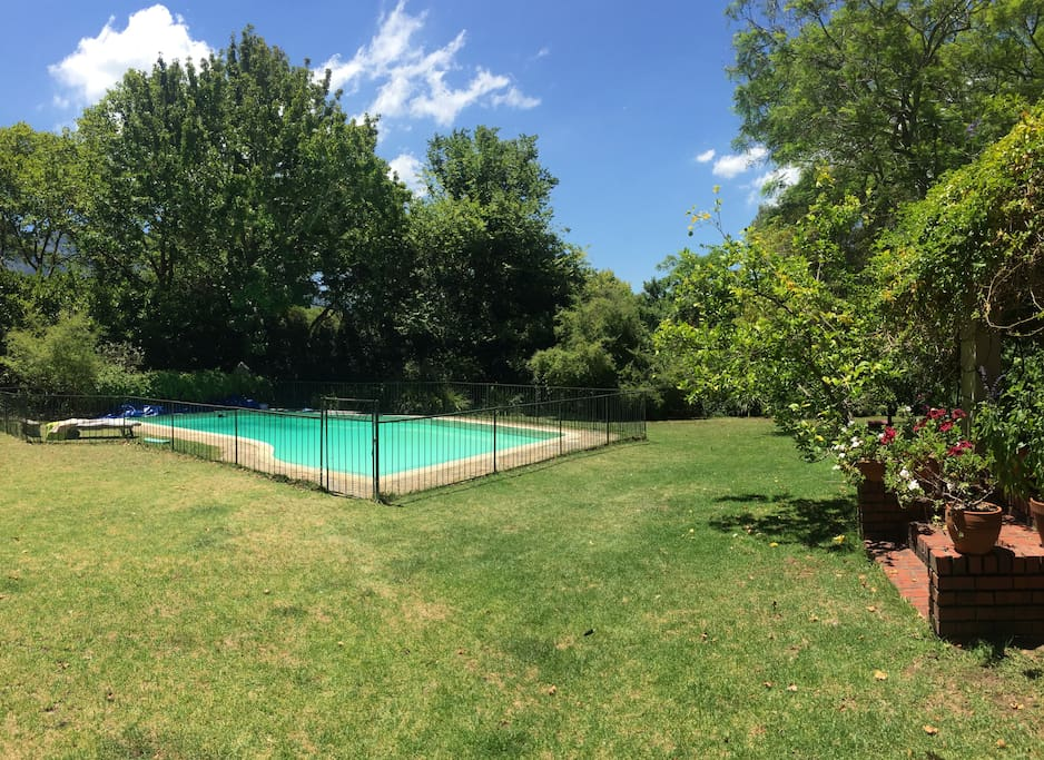 15m salt water pool with fence for children. We have our own borehole water so the pool will always be full