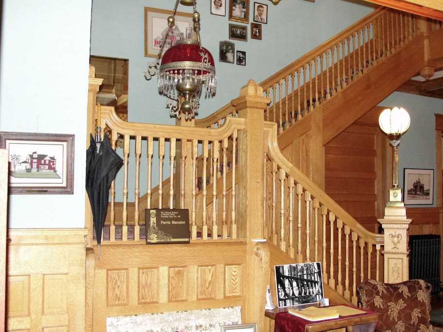 Grand Oak Staircase that leads to all guest rooms.