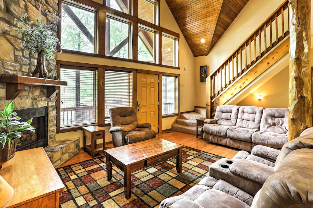 The spacious cabin boasts 4,000 square feet of comfortable living space.