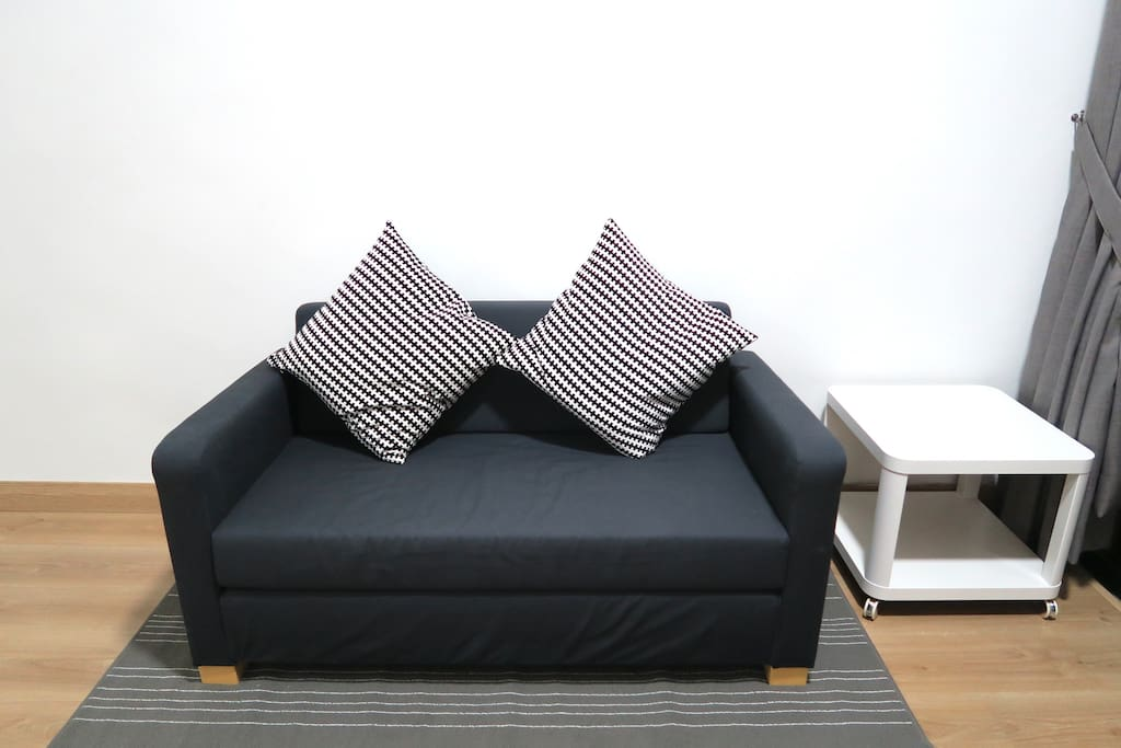 Sofa bed that caters additional 2 guests and a coffee table