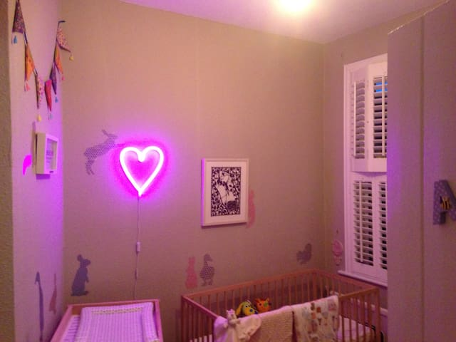 Bedroom #2, with cot and changing station