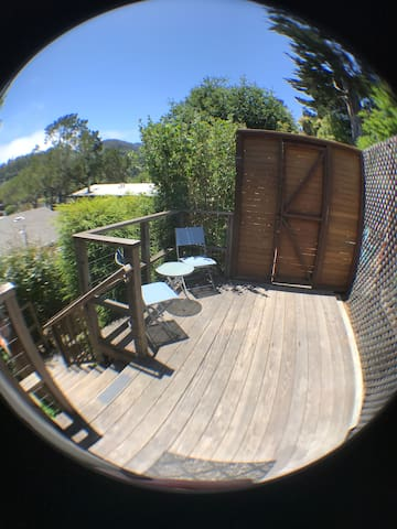 Private deck with a view of the Marin Headlands.