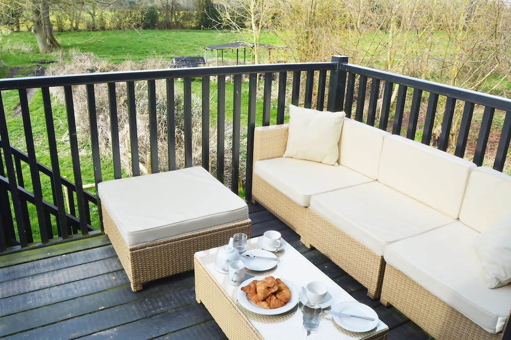 Balcony with garden furniture and countryside views