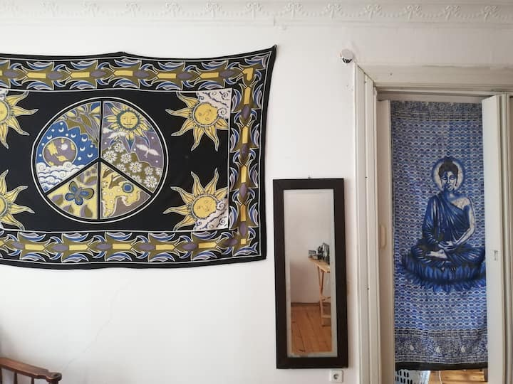 Bohemian room with balcony in multicultural area