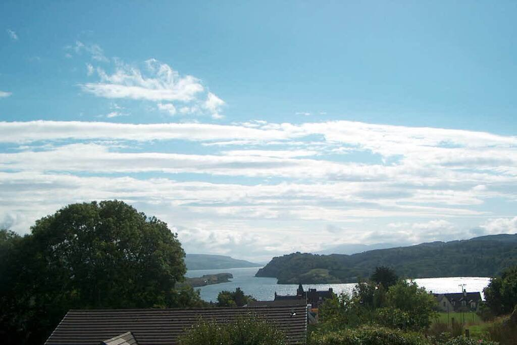 The gorgeous view from Lyndale over Tobermory Bay and down the Sound of Mull.