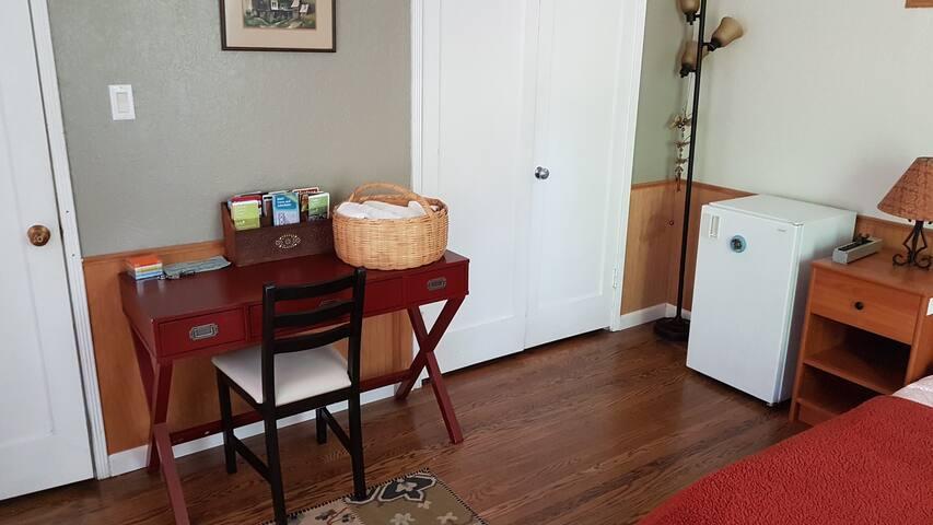 Desk, Closet, Mini-Fridge