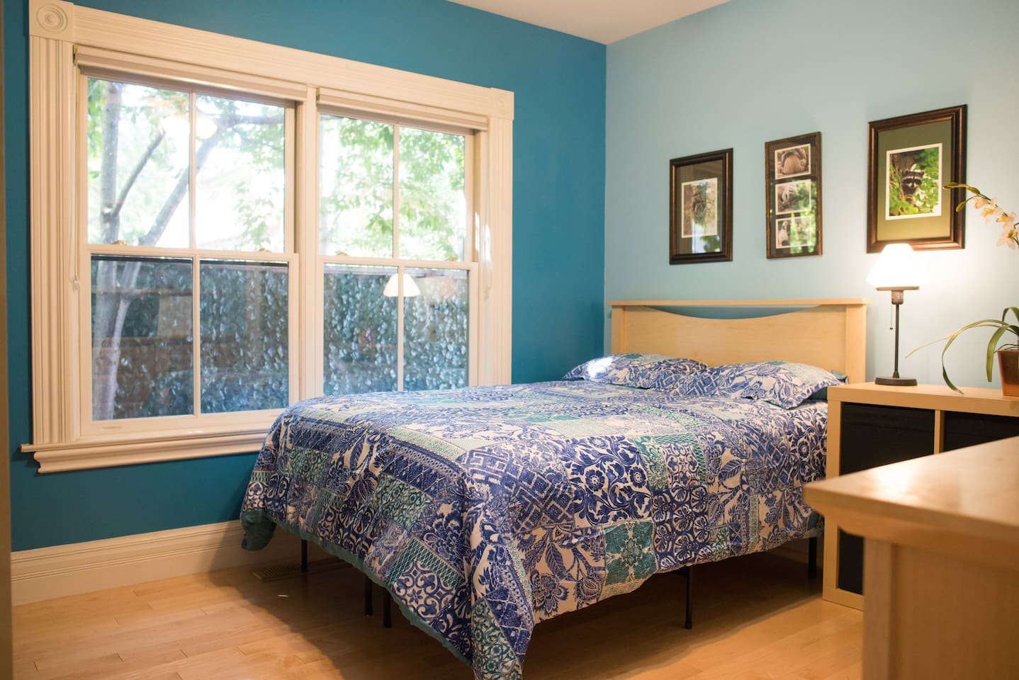 Our airy Blue Room with lively colors and lots of storage