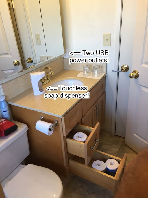 Your en suite private bathroom has two USB power outlets to charge your phones, and a touchless soap dispenser