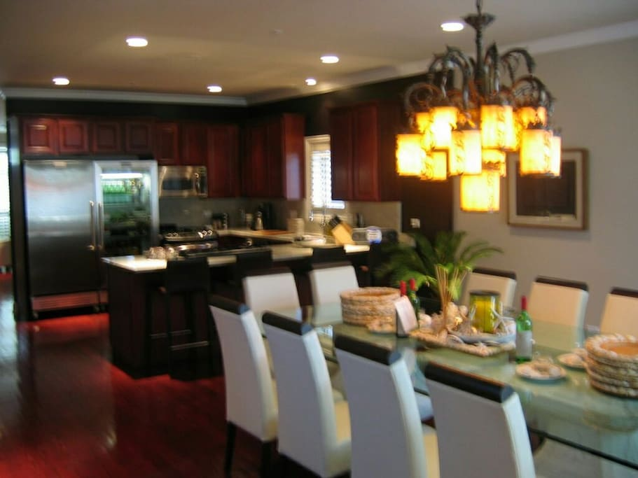 View of kitchen and dining room.