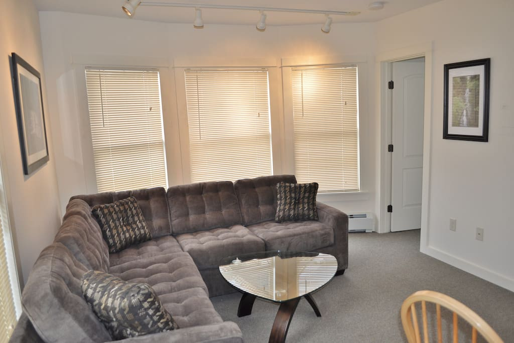 three big windows that let in lots of light and spacious living room