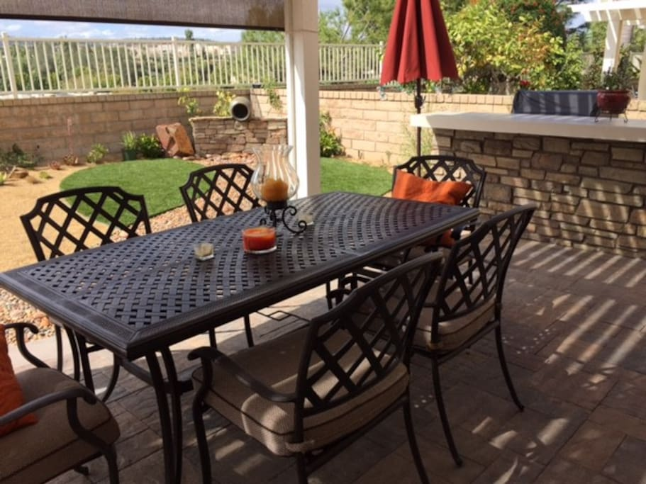 Patio with dining for six