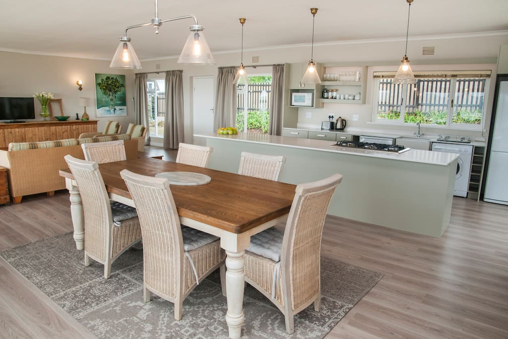 Open plan kitchen/dining/ living area.